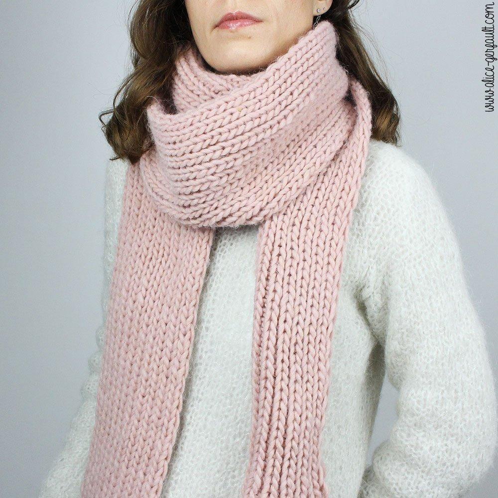 Tuto écharpe cotes 1x1, tricot pour débutant, DIY by Alice Gerfautl