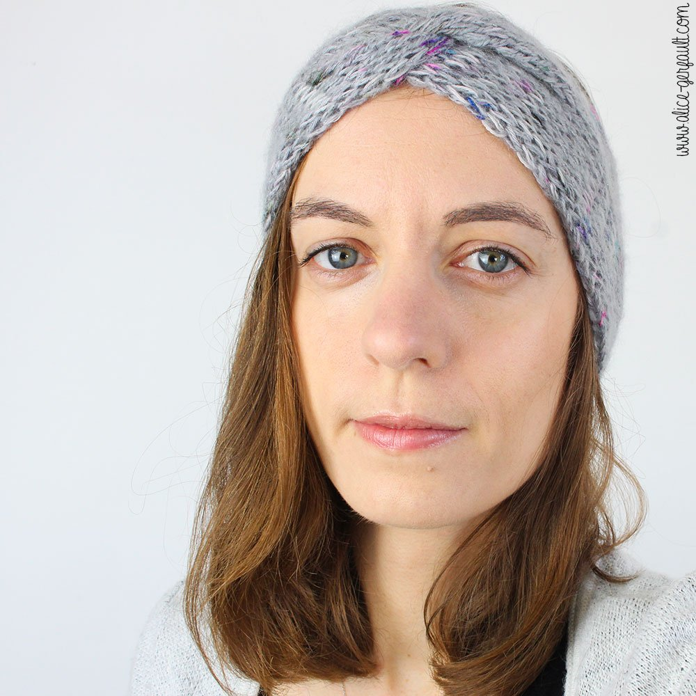 Tricoter le Headband Frida et apprendre le point Jersey Double, DIY par Alice Gerfault