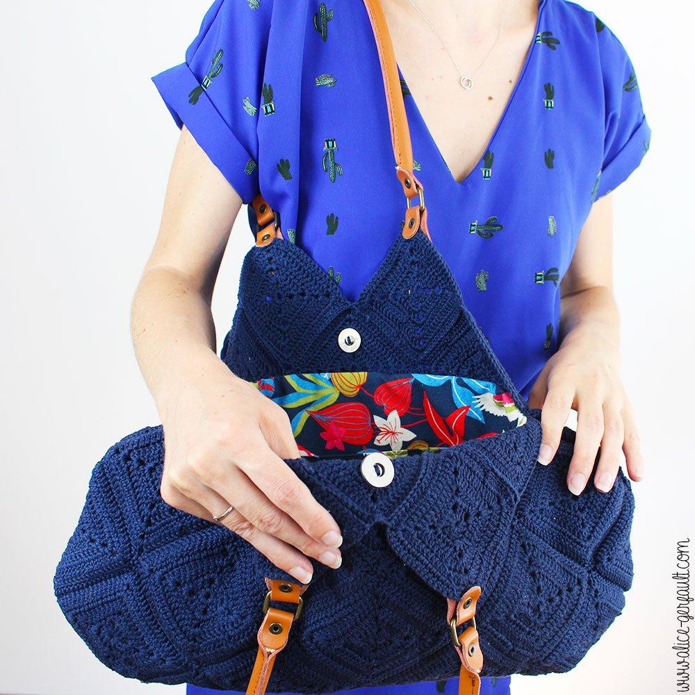 DIY Sac à main Granny Squares, tuto crochet par Alice Gerfault