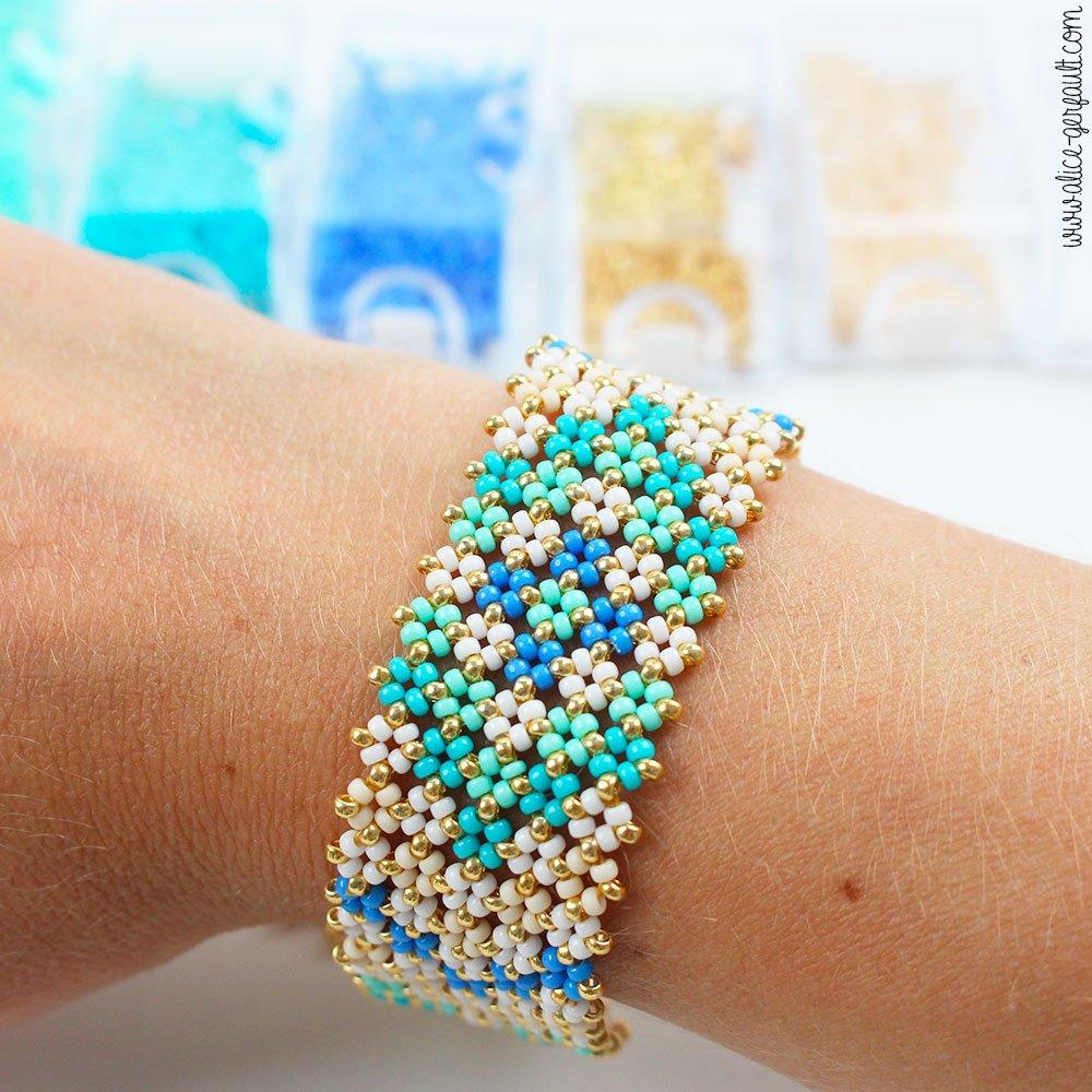 Tuto Bracelet Pondo Stitch en perles Miyuki Rocailles, DIY by Alice Gerfault