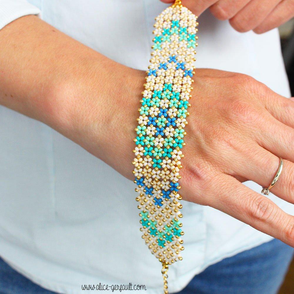 Tuto Bracelet Pondo Stitch en perles Miyuki Rocailles, DIY byAlice Gerfault