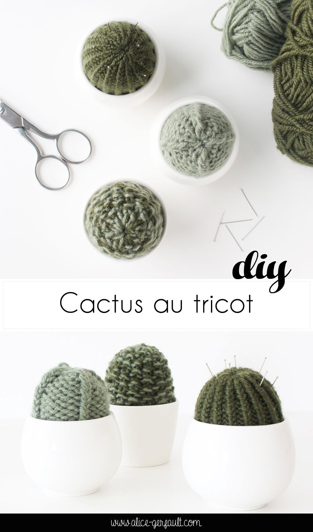 Tuto Cactus au tricot, un pique-épingle déco, DIY par Alice Gerfault