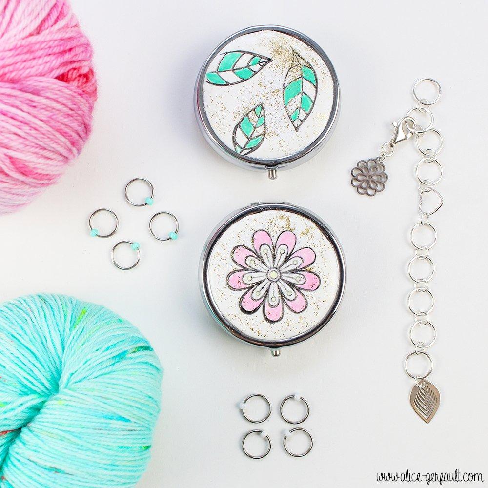 3 Accessoires tricot à fabriquer soi-même : compte-rang, anneaux marqueurs et leur boite de rangement, DIY par Alice Gerfault