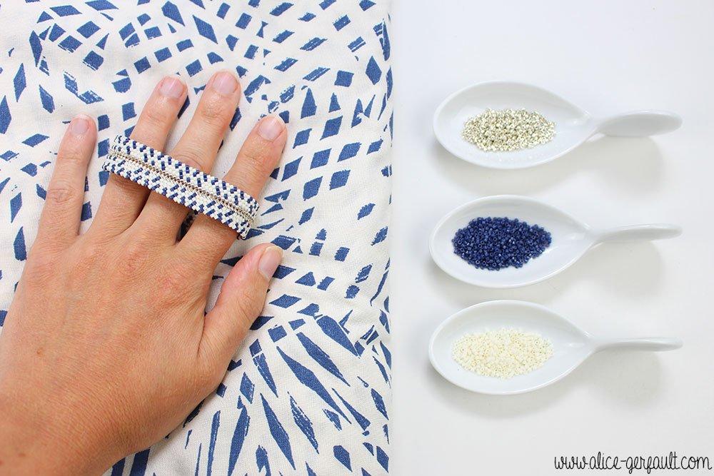 Bracelet Mississippi Shade Cobalt avec Miyuki Delicas, DIY par Alice Gerfault