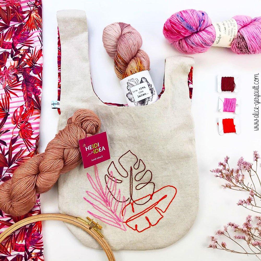 Journal Créatif Episode 14, Knot bag avec broderie tropicale, Couture par Alice Gerfault