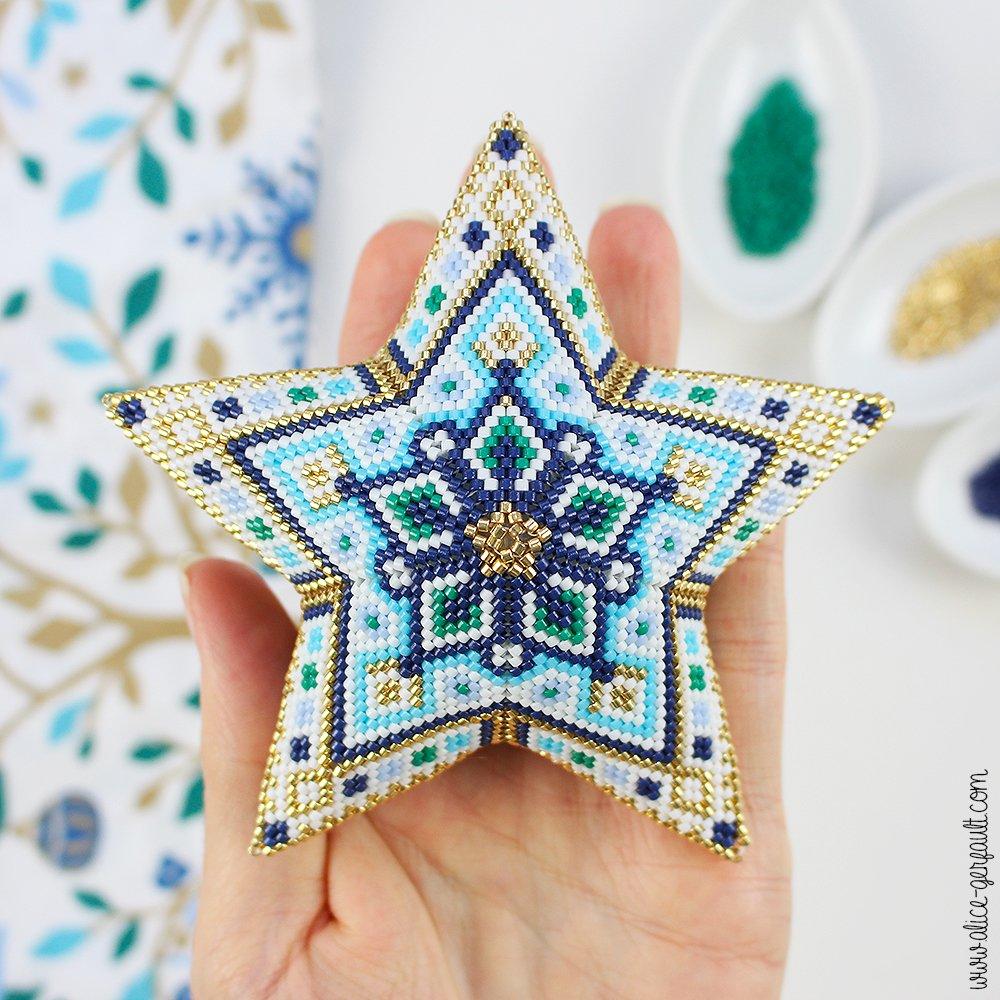 Tuto Etoile 3D en perles Miyuki Delicas, DIY par Alice Gerfault