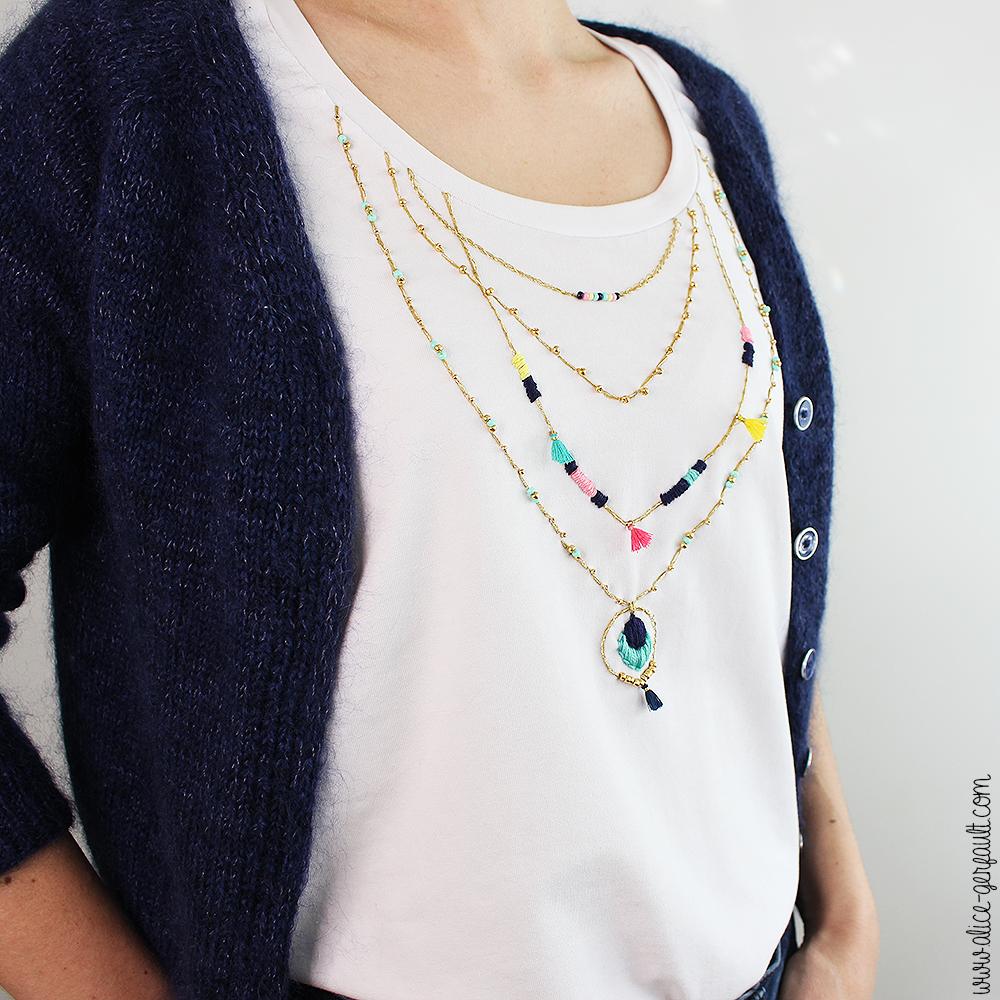DIY T-shirt customisé avec broderie effet accumulation de colliers - Tuto par Alice Gerfault