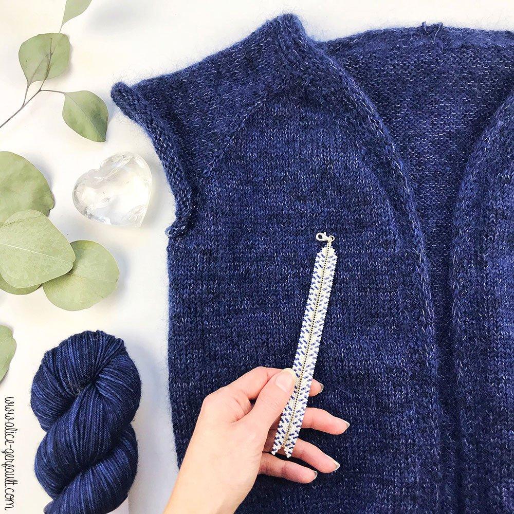 Gilet Rendez-Vous d'Atelier Emilie en cours de tricot par Alice Gerfault