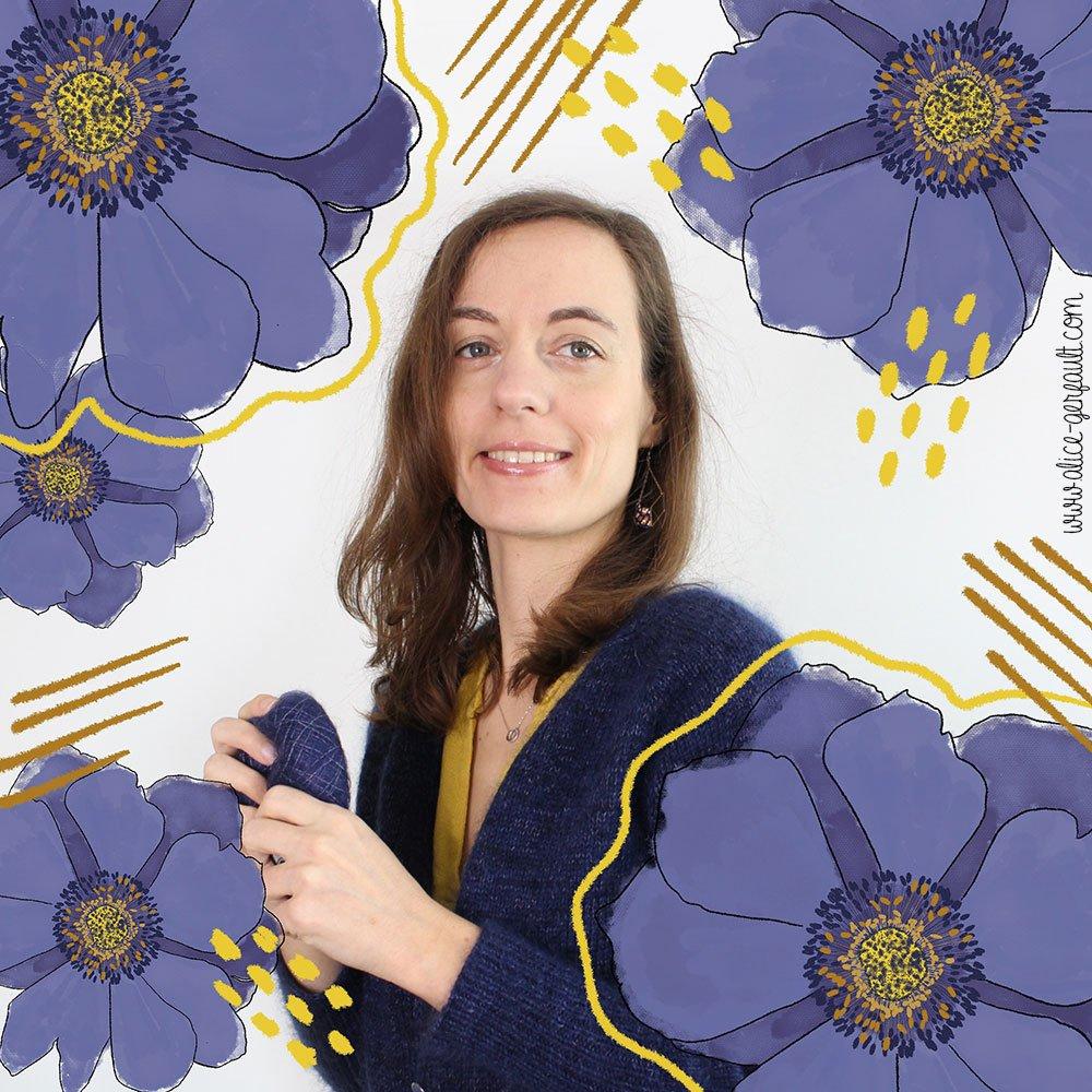 Illustration du Gilet Rendez-Vous d'Atelier Emilie tricoté par Alice Gerfault
